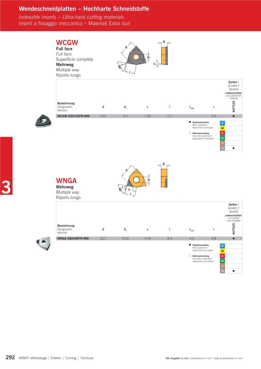 Mãnh cắt, chíp, insert WNGA gia công thép độ cứng trên 62Hrc