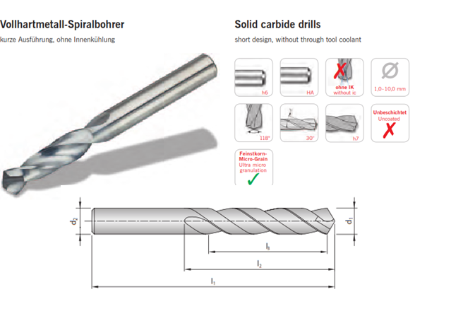 Mũi khoan hợp kim cứng loại không phủ hợp kim cứng khoan sâu 3D